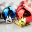 New year background with colorful decoration balls  — Stock fotografie