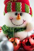 Christmas and New Year snowman with toys — Stock Photo