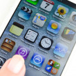 Social Media Apps and games on Apple New iPhone 5, Including Battle Alert, Legend, Knights, Aurum Blade and much more in October 8, 2013 — Stock Photo