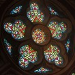 Stained-glass window in cathedral — Stock Photo