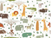 Grunge African Animals Seamless Pattern — Stockvector
