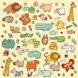 Cute Animals SET XL - Stock vektor