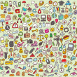 Large Doodle Icons Set — Stock Vector