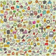Large Doodle Icons Set - Stock Vector