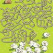 Sheep and Dog Maze Game - Vektorgrafik