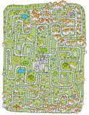 Urban Landscape Maze Game — Stock Vector