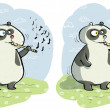 Royalty-Free Stock Vector Image: Panda with Flute Differences Visual Game