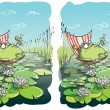 Stock Vector: Funny Frog Differences Visual Game