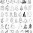Christmas Trees Doodle Collection - Stok Vektör