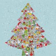 Christmas Tree Square — Vector de stock #22496687