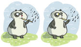 Panda with Flute Differences Visual Game — Stock Vector