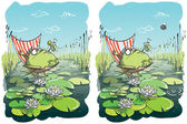 Funny Frog Differences Visual Game — Stock Vector