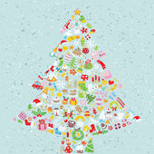 Christmas Tree Square Card — Vector de stock