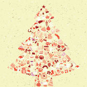 Christmas Tree Square Card — Vettoriale Stock