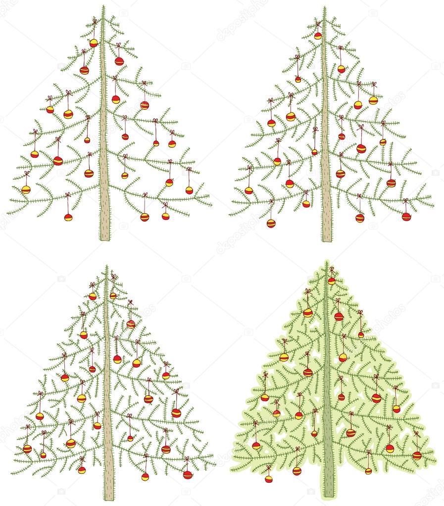 四个不同圣诞树 — 图库矢量图片 #22496437