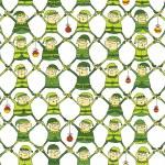 Elf Christmas Pattern in green version — Stock Vector