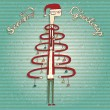 Vecteur: Funny Human Christmas Tree Greeting Card