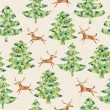 Christmas Trees Forest with Reindeer seamless pattern - Stock Vector