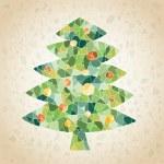 Grunge Mosaic Christmas Tree Greeting Card — Stock Vector