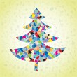 Grunge Mosaic Christmas Tree Greeting Card — Stock Vector