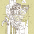 Sketching Historical Architecture in Italy — Stock Vector