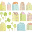 Houses and Trees collection - Stock Vector