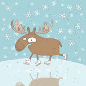Funny Moose Ice-Skating Christmas Card — Stock Vector
