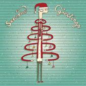 Funny Human Christmas Tree Greeting Card — Stock Vector