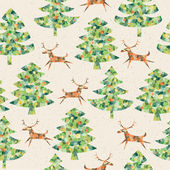 Christmas Trees Forest with Reindeer seamless pattern — Stock Vector