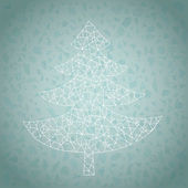 Grunge Lace Christmas Tree Greeting Card — Stock Vector