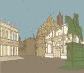 Composition of Italian Architecture — Stock Vector