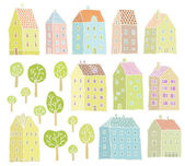 Houses and Trees collection — Stock Vector