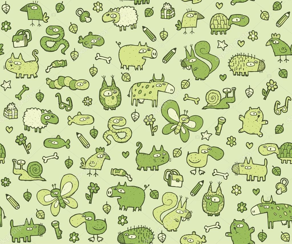 Green texture background backgrounds on pinterest - Animals Texture Seamless Pattern For Kids Stock Vector