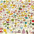 Big Food and Kitchen Collection — Stock Vector