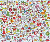 Big Christmas Collection of fine small hand drawn illustrations — Stock Vector