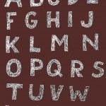 Woodcut Font Set — Stock Vector