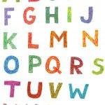 Colourful Woodcut Font Set — Stock Vector