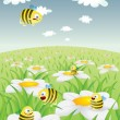 Stock Vector: Daisy Field With Honey Bees