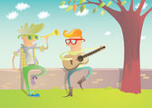 Two Hipsters Playing Guitar and Trumpet — Stock Vector