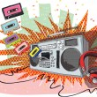 Retro Music Composition with boom-box, headphones and tapes - Stock Vector