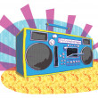Stock Vector: Retro Boom-box in pop-art manner