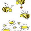 Honigbienen und Gänseblümchen hand gezeichnete cartoon — Stockvektor