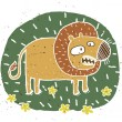Hand drawn grunge illustration of cute lion on floral background — Stock Vector
