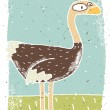 Hand drawn grunge illustration of cute ostrich on background wit — Stock Vector