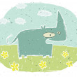 Hand drawn grunge illustration of cute rhino on background with - Stock Vector
