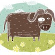 Hand drawn grunge illustration of cute buffalo on background wit — Stock Vector #22557657