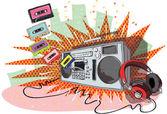 Retro hudební kompozice s boom krabice, sluchátka a pásky — Stock vektor