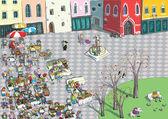 Vibrant City Square Cartoon — Stock Vector