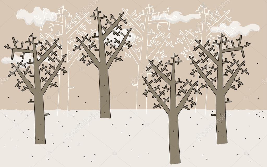 树木在冬天手绘