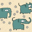 Hand drawn grunge illustration set of cute elephants — Stock Vector